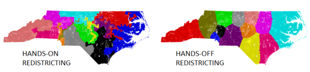 Brian Olson on bdistricting.com, comparing current gerrymandered CD's in North Carolina to districts calculated with his algorithm